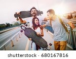 group of happy friends hang out ... | Shutterstock . vector #680167816