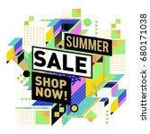 summer sale geometric style web ... | Shutterstock .eps vector #680171038