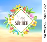 tropical summer objects in... | Shutterstock .eps vector #680174992