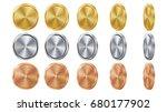 empty 3d gold  silver  bronze... | Shutterstock .eps vector #680177902
