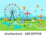 amusement park vector flat... | Shutterstock .eps vector #680189938