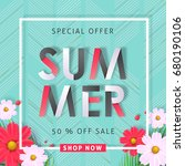 summer sale background layout... | Shutterstock .eps vector #680190106