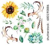 handpainted watercolor set.14...   Shutterstock . vector #680190886