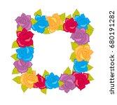 9f861c641d Royalty Free Stock Illustration of Flower Frame Squar Wreath Different  Blossoms Stock Illustration 680191282