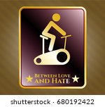 shiny badge with stationary... | Shutterstock .eps vector #680192422