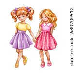 Stock photo watercolor illustration best friends cute girls holding hands children teenagers clip art 680200912