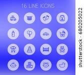set of 16 kid outline icons set.... | Shutterstock .eps vector #680205022