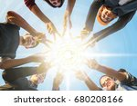 young asian business team join... | Shutterstock . vector #680208166