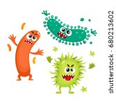 set of ugly virus  germ and... | Shutterstock .eps vector #680213602