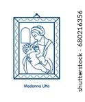 madonna litta. the virgin mary... | Shutterstock .eps vector #680216356