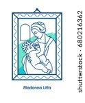 madonna litta. vector... | Shutterstock .eps vector #680216362