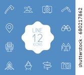 set of 12 adventure outline... | Shutterstock .eps vector #680217862