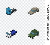 isometric car set of armored ...