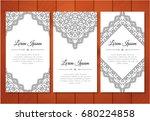 cute vintage doodle cards set... | Shutterstock .eps vector #680224858