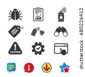 bug disinfection icons. caution ...