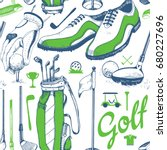 seamless golf pattern with...   Shutterstock .eps vector #680227696