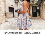 young beautiful hipster woman... | Shutterstock . vector #680228866