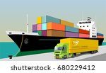 logistics port  ship  freight ... | Shutterstock .eps vector #680229412