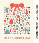 christmas greeting card with... | Shutterstock .eps vector #680232682