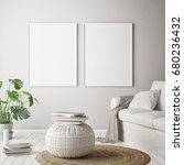 mock up poster frame in hipster ... | Shutterstock . vector #680236432
