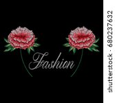 embroidery roses with fashion... | Shutterstock .eps vector #680237632