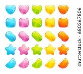cute glossy jelly candies set.... | Shutterstock .eps vector #680267806