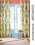 luxury curtain with a copy... | Shutterstock . vector #680268352