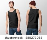 black tank top on a young man... | Shutterstock . vector #680273086