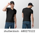 black t shirt on a young man in ... | Shutterstock . vector #680273122