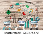 group of three people with... | Shutterstock . vector #680276572