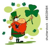 male leprechaun holding up a... | Shutterstock . vector #68028484