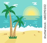 summer beach with tropical palm ... | Shutterstock .eps vector #680290102