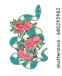 snake and flowers patch 2   Shutterstock .eps vector #680295982