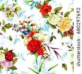 seamless background pattern.... | Shutterstock .eps vector #680297692