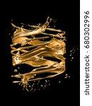 a splash of gold. 3d... | Shutterstock . vector #680302996