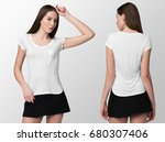 white t shirt on a young woman... | Shutterstock . vector #680307406