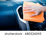 man hand cleaning interior car... | Shutterstock . vector #680326045