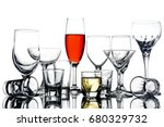 collage of empty glasses with... | Shutterstock . vector #680329732