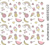 cute colorful seamless vector...   Shutterstock .eps vector #680335222
