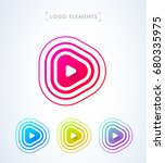 play button logo. pulse waves ... | Shutterstock .eps vector #680335975