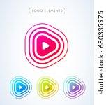 play button logo. pulse waves ... | Shutterstock .eps vector #680335975