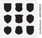 vector shield icons set on grey ... | Shutterstock .eps vector #680338045