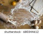 baking ingredients. bowl  eggs  ... | Shutterstock . vector #680344612