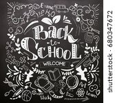 back to school lettering on... | Shutterstock . vector #680347672
