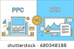 comparison between seo and ppc  ... | Shutterstock .eps vector #680348188