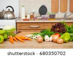 fresh fruits and vegetables on...   Shutterstock . vector #680350702