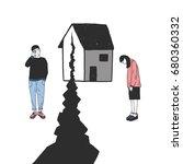 concept of divorce  crack in... | Shutterstock . vector #680360332