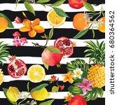 tropical fruits seamless... | Shutterstock .eps vector #680364562