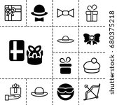 set of 13 filled and outline ... | Shutterstock .eps vector #680375218