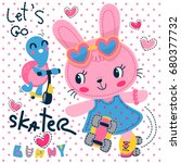 Stock vector cute cartoon bunny and turtle racing with roller skate and scooter on polka dot background 680377732